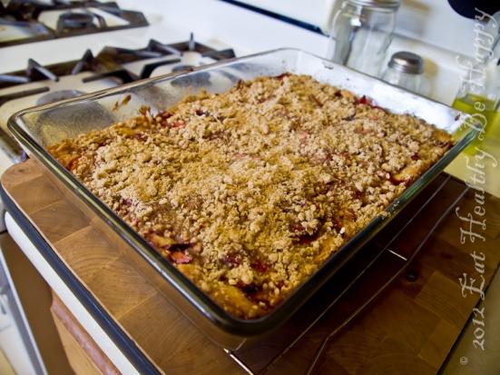 Strawberry Rhubarb Crumb Cake | Eat Healthy Be Happy