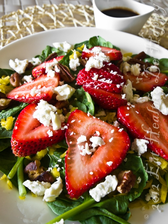 Strawberry Spinach Salad with Feta and Golden Carrots