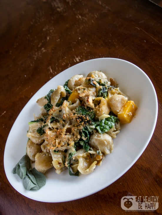 Creamy Butternut Squash Baked Pasta with Kale and Walnuts | Eat Healthy Be Happy