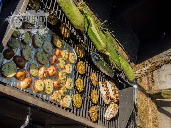Grilled Corn, Potatoes, Eggplant, and Chicken | Eat Healthy Be Happy