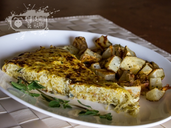 Spaghetti Squash Frittata Rosemary Garlic Potatoes | Eat Healthy Be Happy